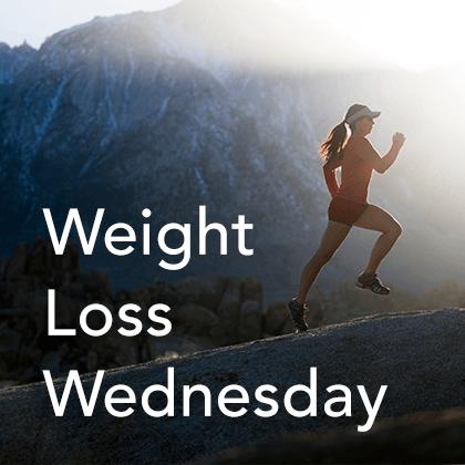 Weight Loss Wednesday Thumbnail. A girl running uphill.