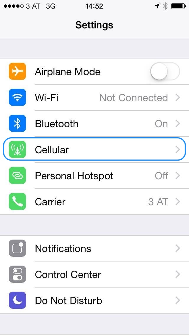 Setting from iOS Phone of how to turn off the Data Roaming.