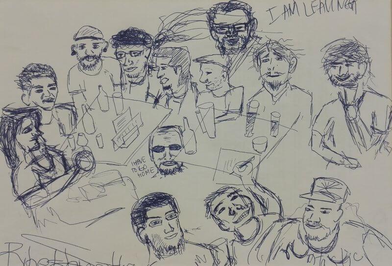 Eine Zeichnung auf Papier der Mitglieder.