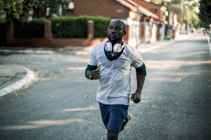 Picture of a young african-american man running