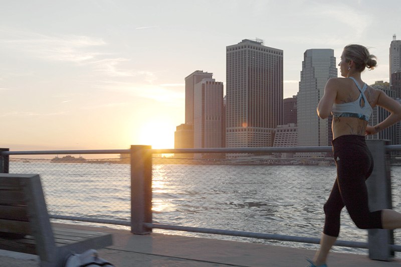 Young woman running in New York City