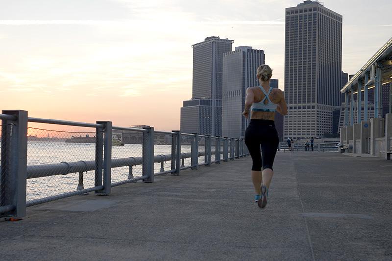 Young women running in New York City