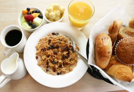 Cereal and orange juice breakfast