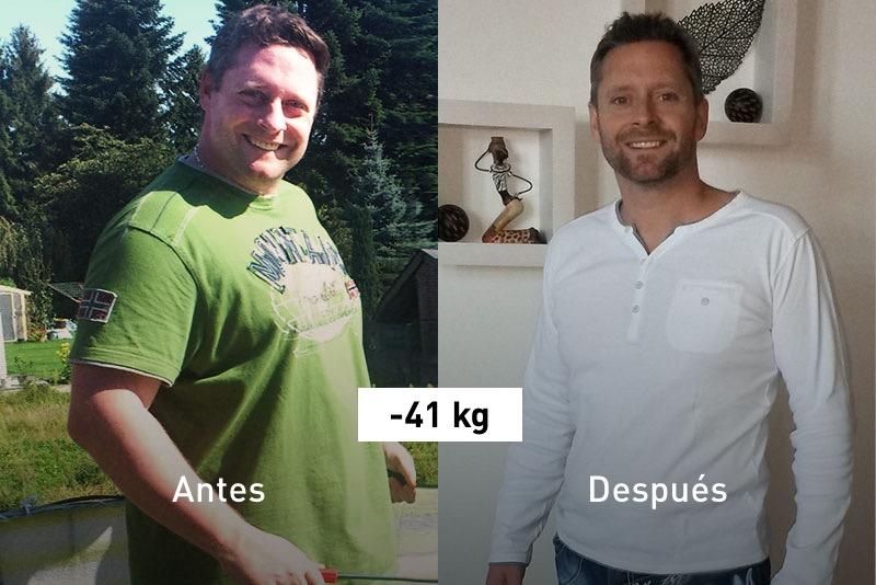 Patric antes y después de perder peso