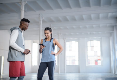 People talking during a workout pause
