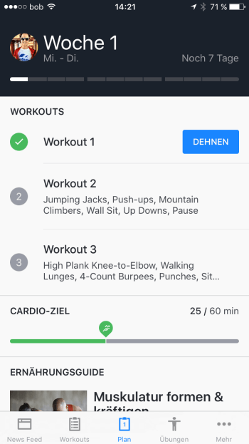 Screenshot vom Cardio Goal weekly overview in der Runtastic Results App.