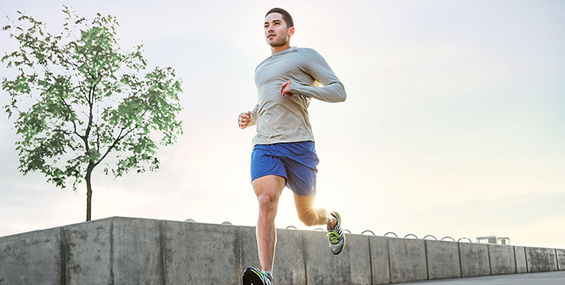 Young man is running.
