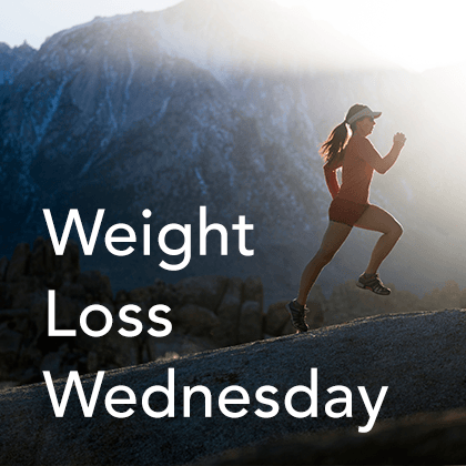 Weight Loss Wednesday Thumbnail. A girl running uphill.