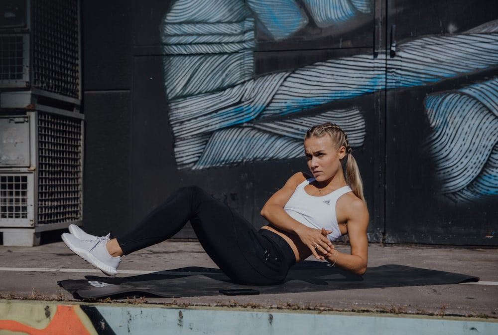 woman exercising on the floor