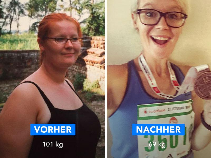 Ein vorher und nachher Bild von einer Frau die 32 kg abgenommen hat.