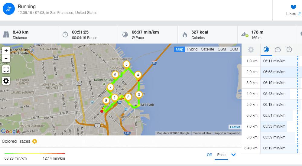 Screenshot einer gelaufenen Route mit der Runtastic App.