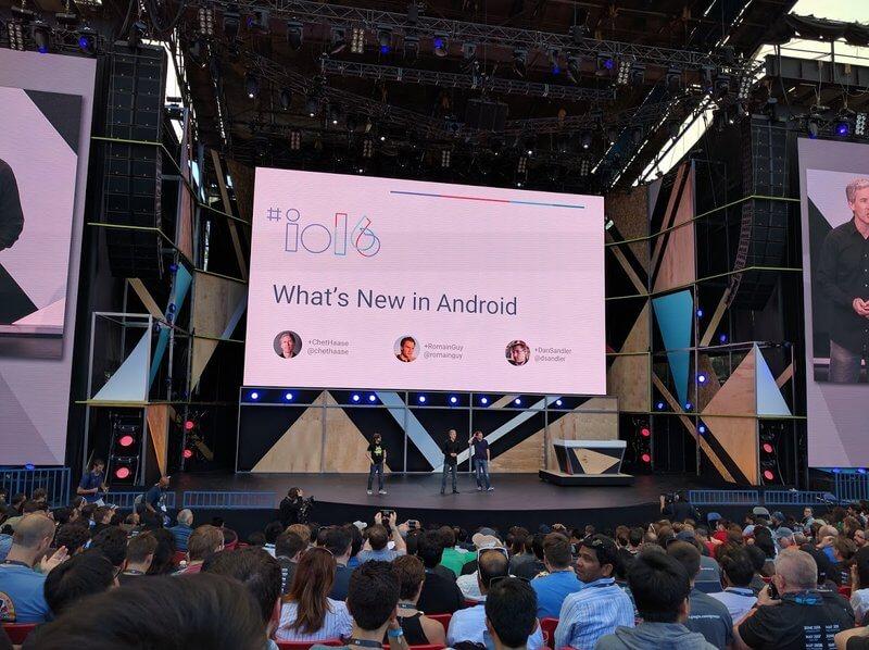 Die Open Air Bühne der Google I/O 2016.