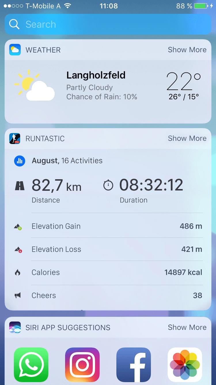 LaufRunning with Runtastic App: Everything at a glance at your Widget. en mit der Runtastic App: Alles auf einen Blick in deinem Widget.