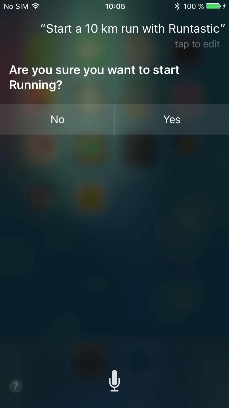 Screenshot of Siri function.