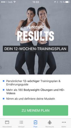 Runtastic Results fuer Frauen screenshot