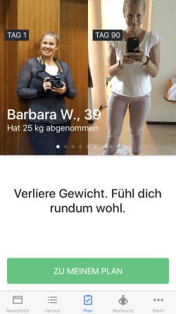 Runtastic Results fuer Frauen vorher nachher Foto.