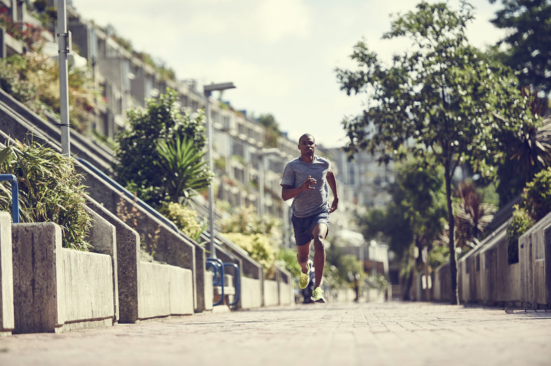 A man running outside