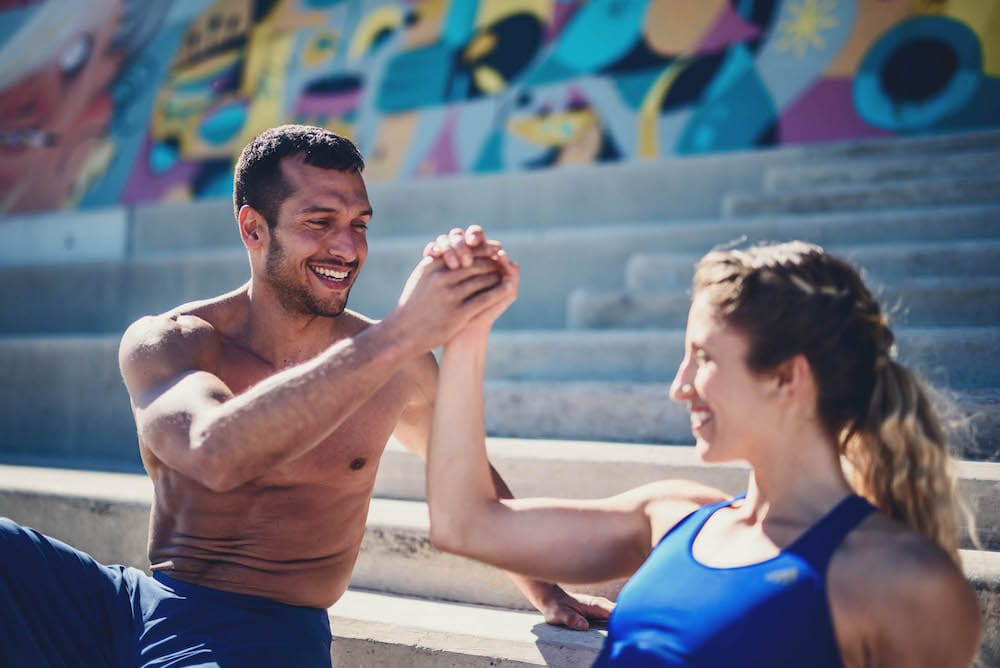 Man and woman after exercise