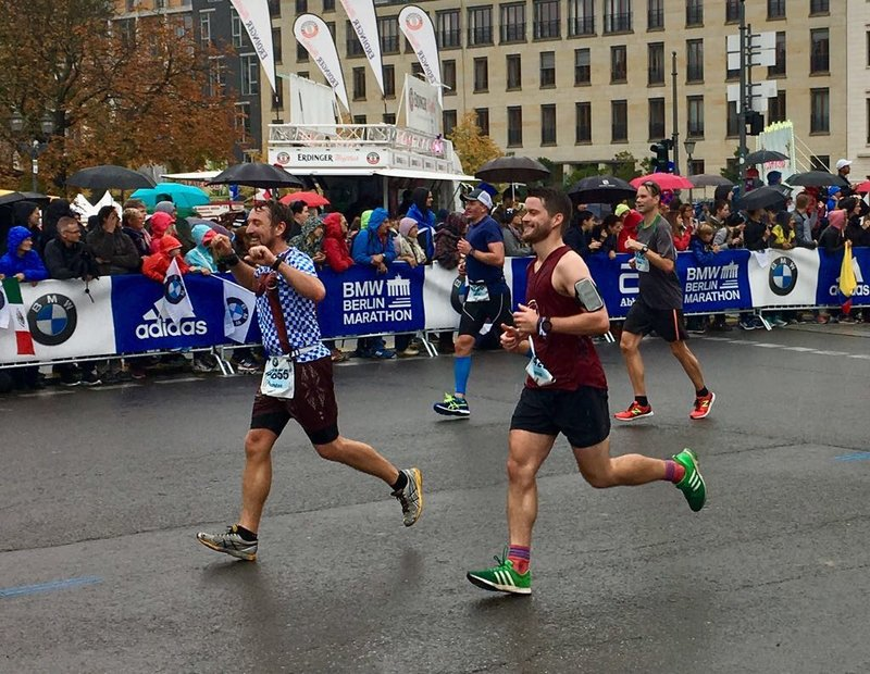 a young man participating at a marathon