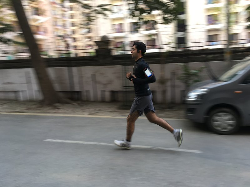 A man running in the city