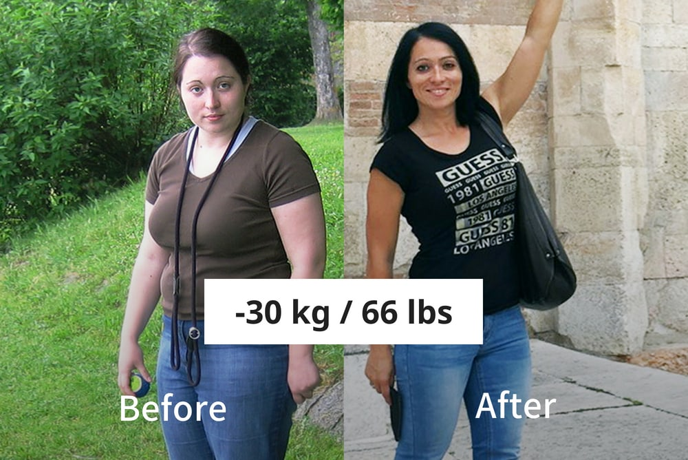 woman lost 30 kg / 66 lbs with runtastic