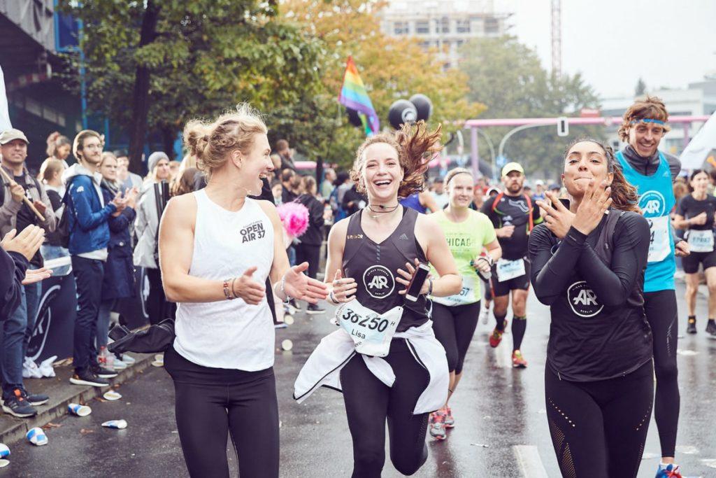 Two women running a marathon