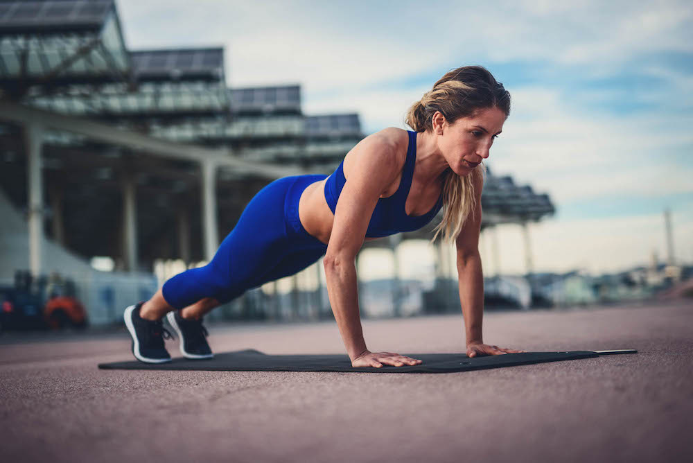 Runner doing push-ups