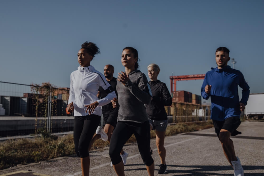 group of people running