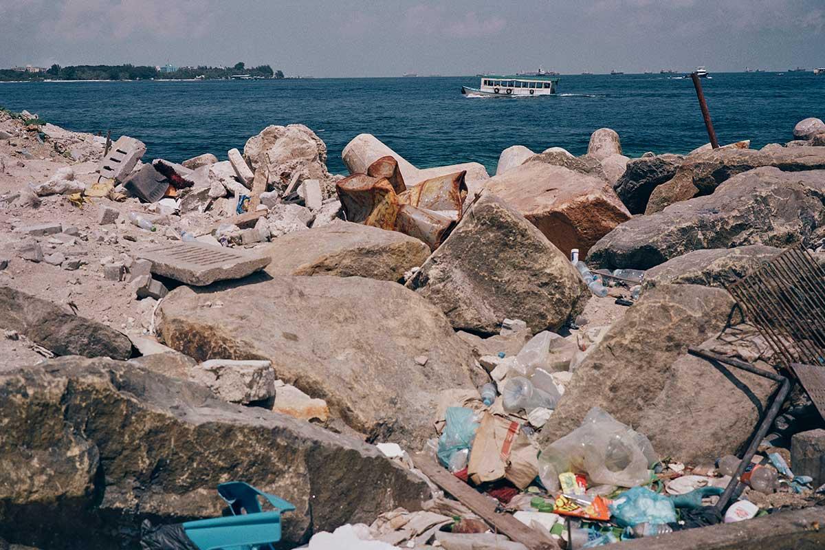 Lots of plastic trash at the sea