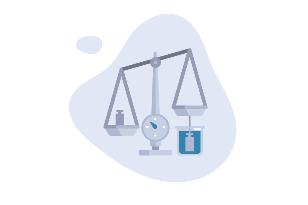 Ilustração da pesagem hidrostática com base no deslocamento de água