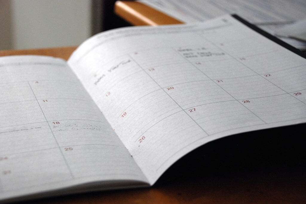 Calendar of 2021