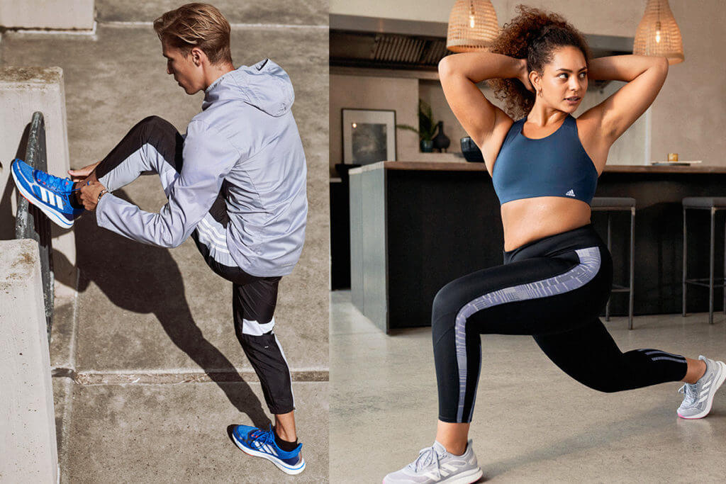 Geteiltes Bild: Mann und Frau beim Workout