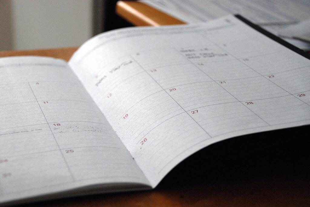 Bild eines Kalenders von 2021