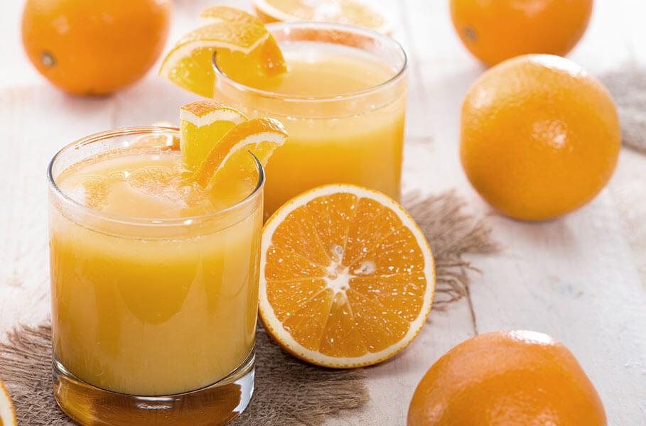 fresh orange juice in glasses