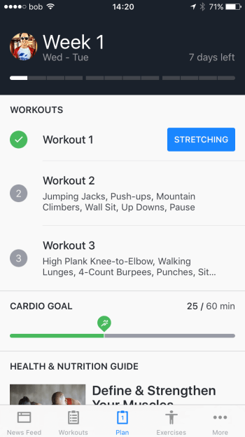 Screenshot of the Cardio Goal weekly overview in the Runtastic Results App.