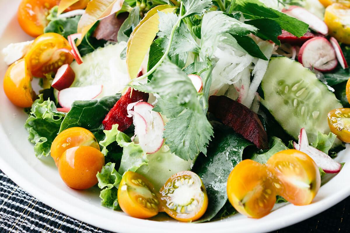 Prato cheio de salada, caprichada nas cores e nos nutrientes