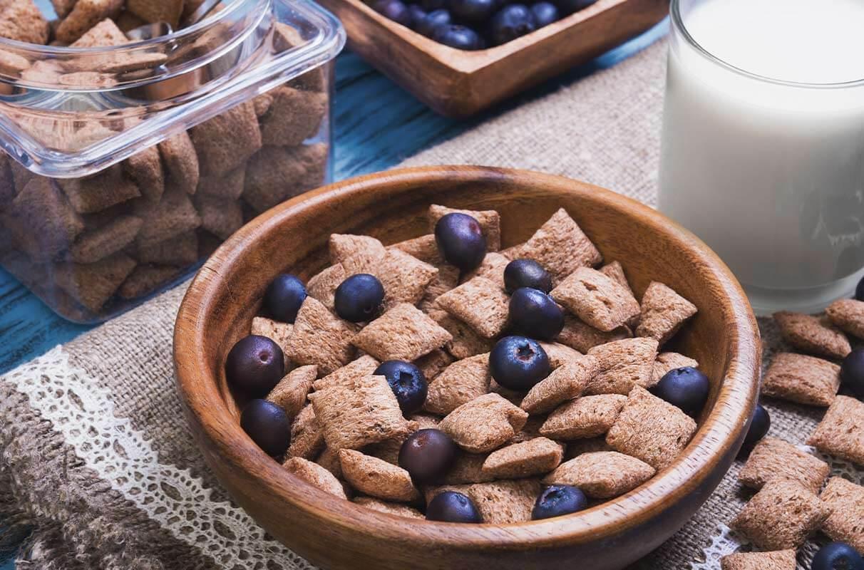 Tazza con cereali e mirtilli