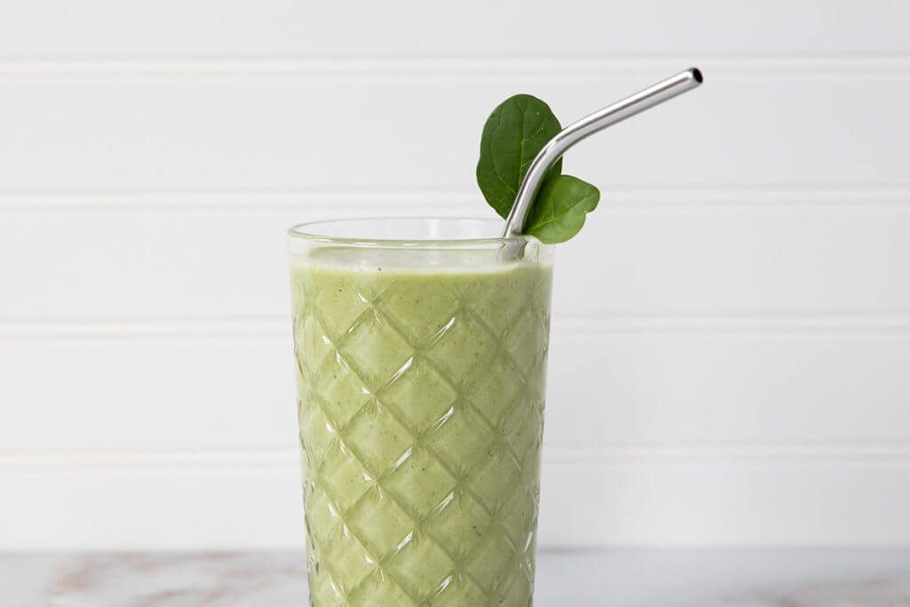 Close up of a green smoothie