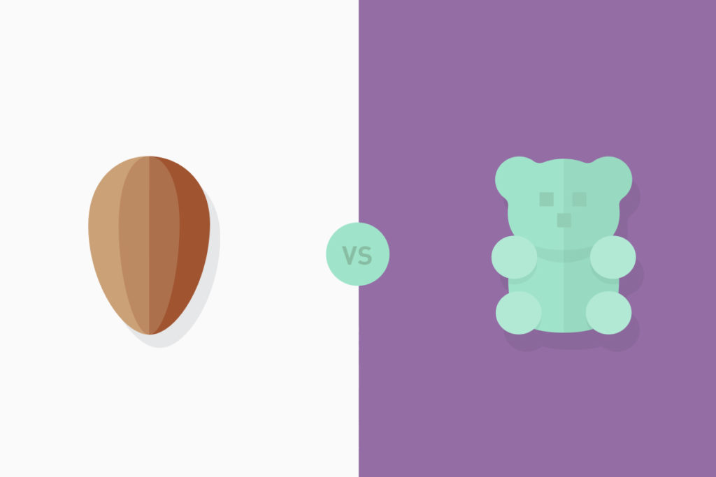 almonds and gummy bears