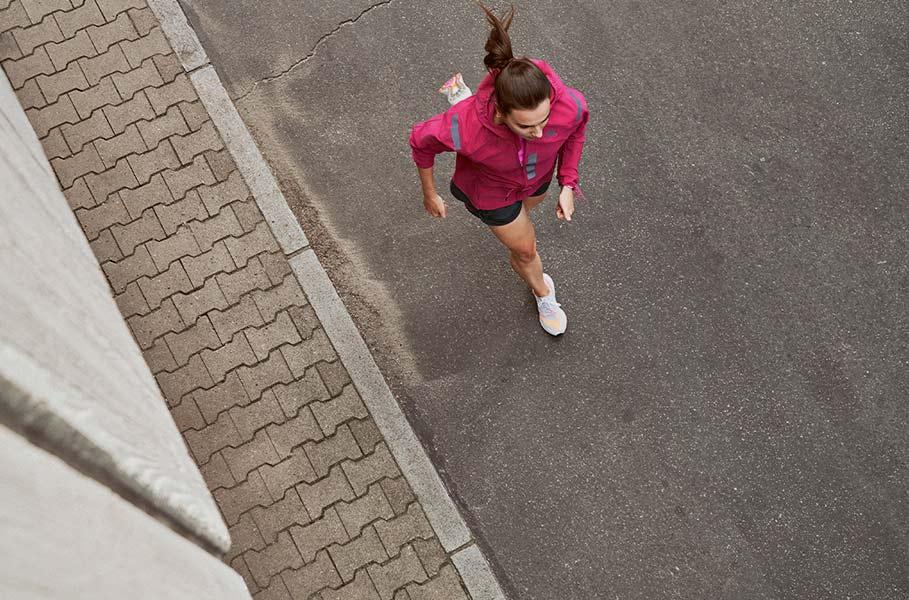 running on a street
