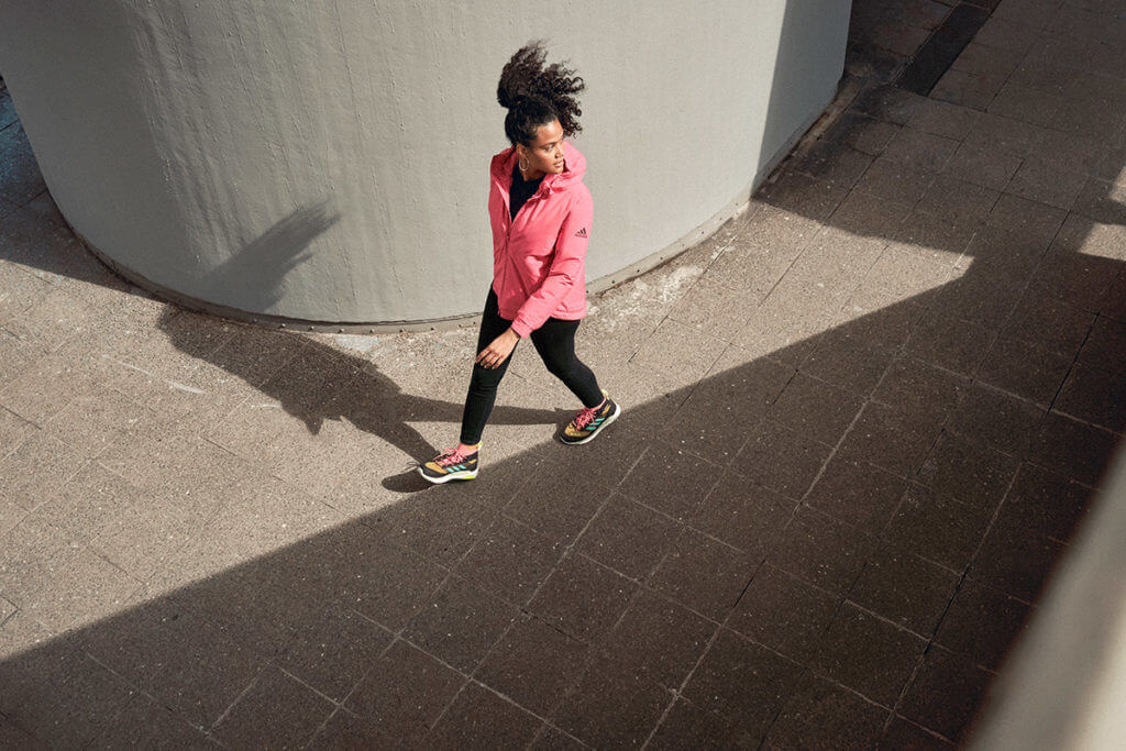 Young woman is walking