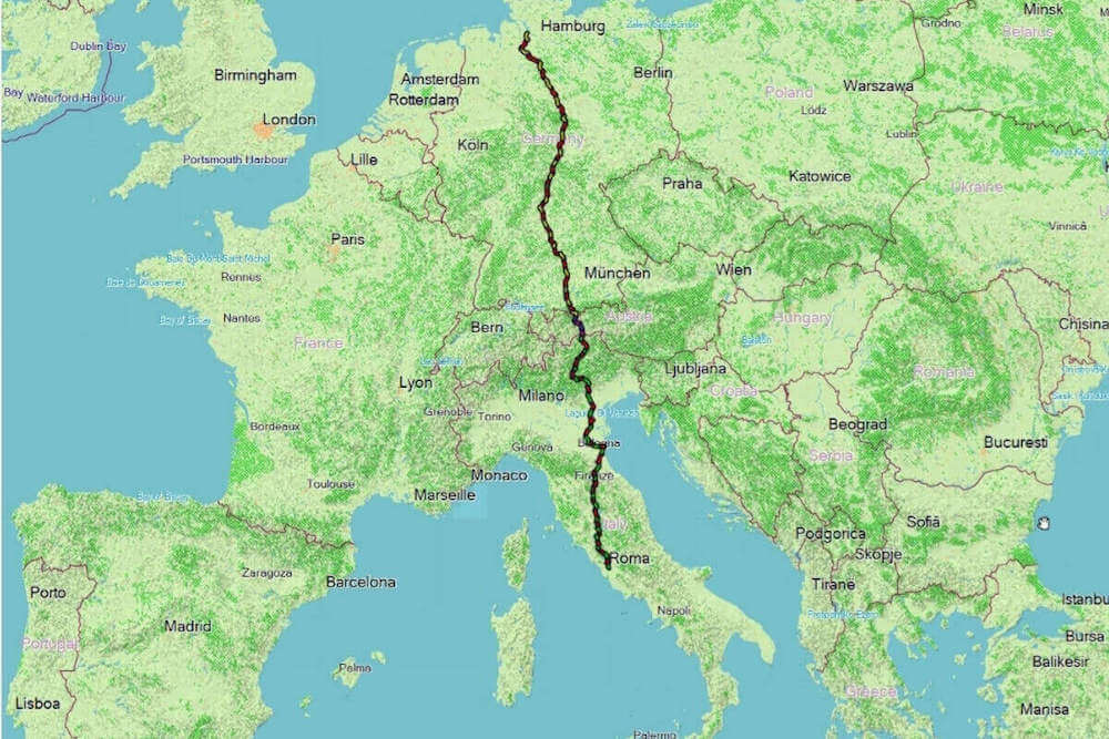A Via Romea Germanica marcada no mapa da Europa