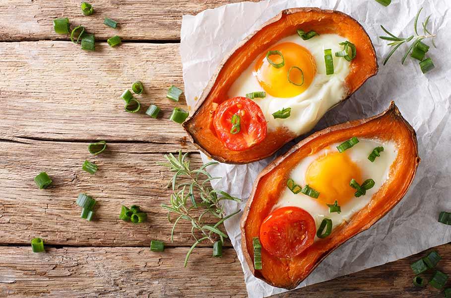 patate dolci e uova al forno