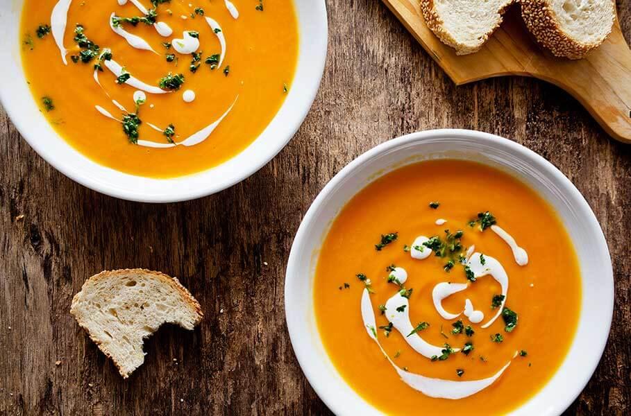 zuppa vegana di patate dolci