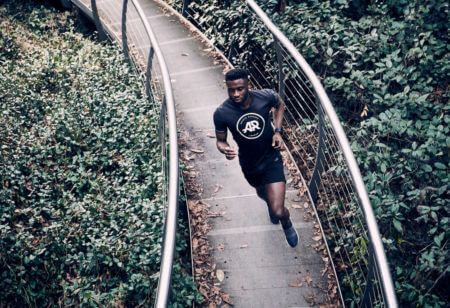Young man doing speed training
