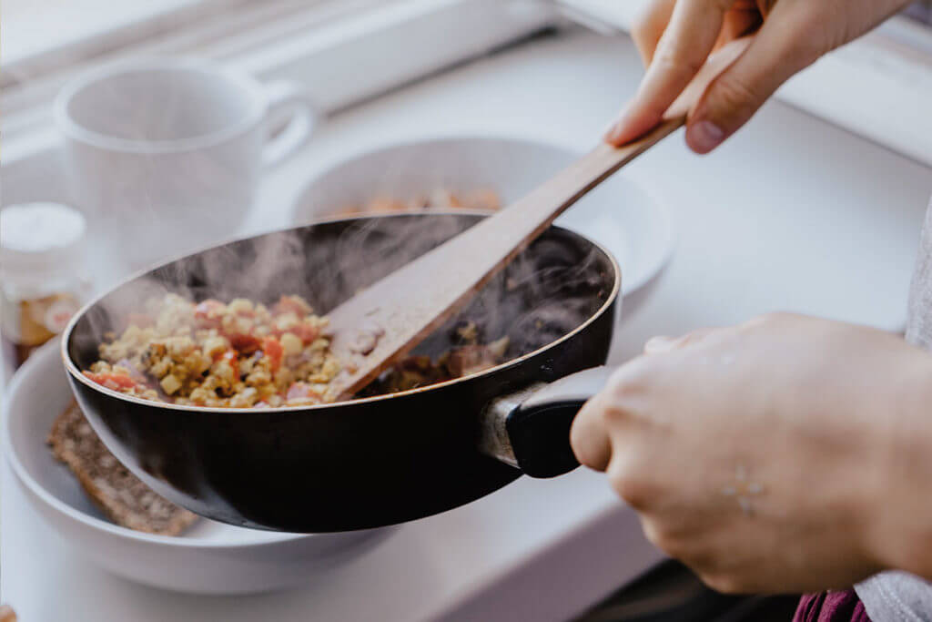 Healthy food cooked in a pan