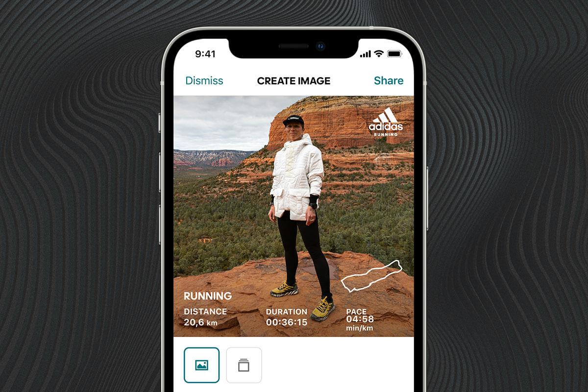 Printscreen do app adidas Running que Jessie Zappo compartilhará nas redes sociais, marcando seu grupo de corrida