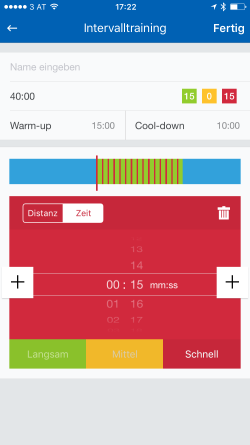 Screenshot Runtastic App Intervalle