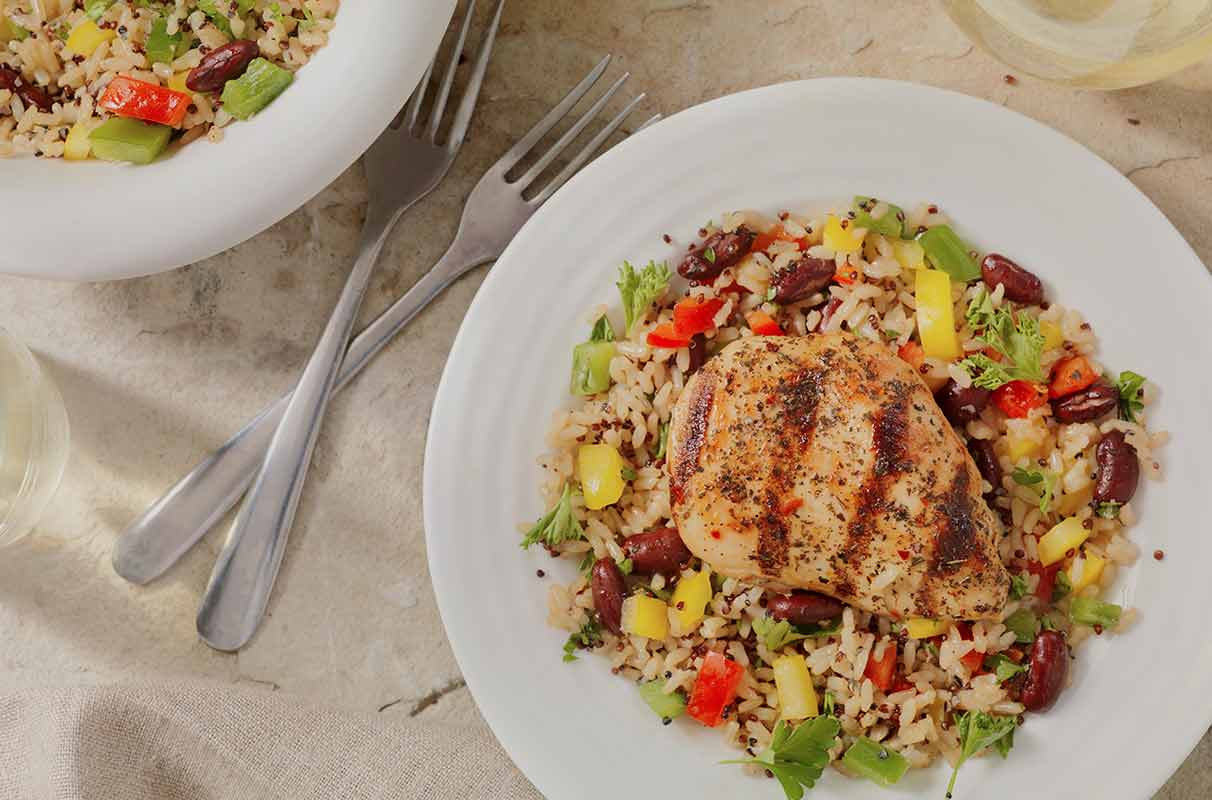 Chicken with brown rice and beans