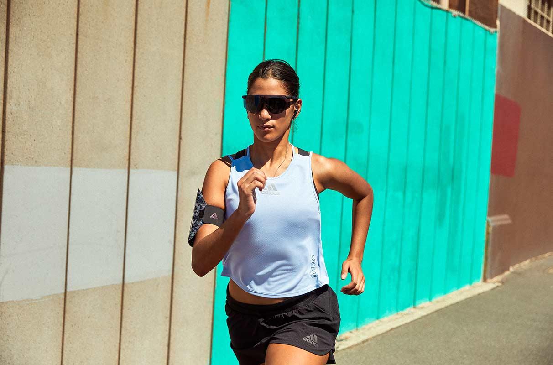 woman running in the sun